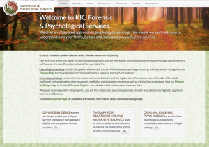 KKJ Forensic and Psychological Services website organization, content and maintenance