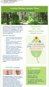 The Academy for Leadership Excellence event invitation